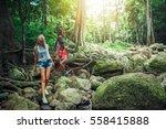 european tourists hiking... | Shutterstock . vector #558415888