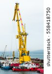 floating cranes on the... | Shutterstock . vector #558418750