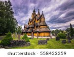 July 18, 2015: Facade of Heddal Stave Church in Telemark, Norway - stock photo