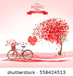 valentine's day background with ... | Shutterstock .eps vector #558424513