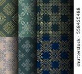 set of seamless vintage... | Shutterstock .eps vector #558425488
