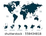 blue world map vector on white... | Shutterstock .eps vector #558434818