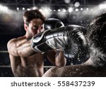 boxer in a boxe competition... | Shutterstock . vector #558437239