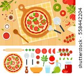 pizza margarita and ingredients ... | Shutterstock .eps vector #558442204
