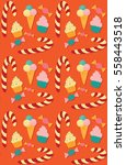 sweet pattern with lollipop ... | Shutterstock .eps vector #558443518