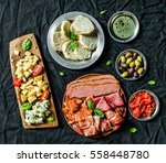 flat lay of italian cold meat... | Shutterstock . vector #558448780