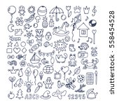 collection of hand drawn cute... | Shutterstock .eps vector #558454528
