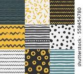 set of 9 decorative seamless... | Shutterstock .eps vector #558454780