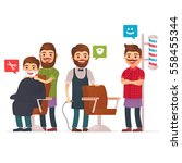 set cartoon barber  barbershop. ... | Shutterstock .eps vector #558455344