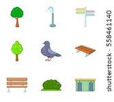 urban outdoor decor icons set.... | Shutterstock .eps vector #558461140