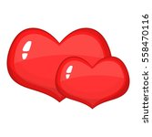 two red hearts icon. cartoon... | Shutterstock . vector #558470116