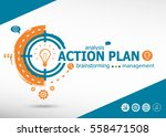 action plan concept on target... | Shutterstock .eps vector #558471508