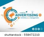 advertising concept on target... | Shutterstock .eps vector #558472210