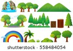 set of trees and mountains... | Shutterstock .eps vector #558484054