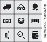 set of 9 editable  icons....