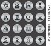 set of 16 editable religion... | Shutterstock . vector #558487624