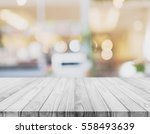 white wood table top with... | Shutterstock . vector #558493639