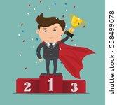 businessman superhero  standing ... | Shutterstock .eps vector #558499078