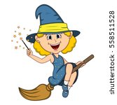 beautiful funny witch fly with... | Shutterstock .eps vector #558511528