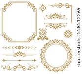 Stock vector vintage vector set floral elements for design of monograms invitations frames menus labels and 558512269