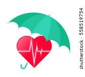 umbrella protects heart....   Shutterstock .eps vector #558519754