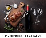 grilled ribeye beef steak with... | Shutterstock . vector #558541504