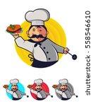 cartoon chef banner. holding... | Shutterstock .eps vector #558546610