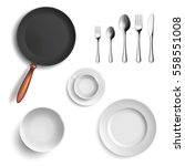set of ceramic plates and... | Shutterstock .eps vector #558551008