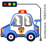 police patrol car under the...