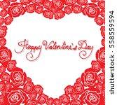red rose flowers in heart shape ... | Shutterstock .eps vector #558559594