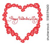 red rose flowers in heart shape ... | Shutterstock .eps vector #558559600