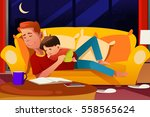 a vector illustration of father ... | Shutterstock .eps vector #558565624