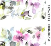 floral background. watercolor... | Shutterstock . vector #558574258
