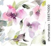 floral pattern. watercolor... | Shutterstock . vector #558574300
