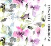 floral pattern. watercolor... | Shutterstock . vector #558574318