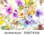 floral pattern. watercolor... | Shutterstock . vector #558574336