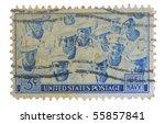 usa   circa 1955  a stamp... | Shutterstock . vector #55857841