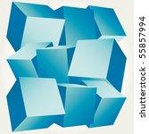 3d Composition Of Cubes Vector...