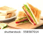 sliced grilled sandwiches bread ... | Shutterstock . vector #558587014
