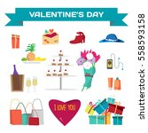 set of valentines day things.... | Shutterstock .eps vector #558593158