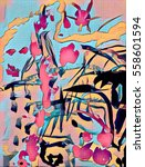 abstract colorful acrilic... | Shutterstock . vector #558601594