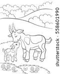 coloring pages. farm animals.... | Shutterstock .eps vector #558601990