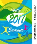 hello summer abstract colorful... | Shutterstock .eps vector #558603364