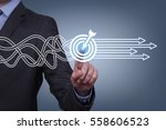 goal solution concept on touch...   Shutterstock . vector #558606523