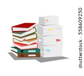 pile of books and papers | Shutterstock .eps vector #558609250