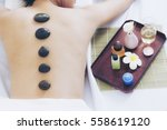 spa concept. back side of young ... | Shutterstock . vector #558619120
