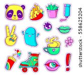 cool neon stickers set in 80s... | Shutterstock .eps vector #558625204