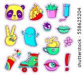 cool neon stickers set in 80s... | Shutterstock .eps vector #558625204