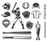set of vector baseball icons | Shutterstock .eps vector #558631840