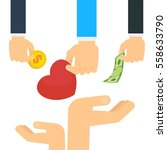 hand donate money  heart and... | Shutterstock .eps vector #558633790